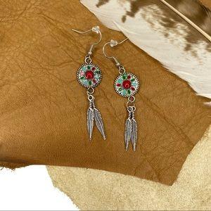 Silver Bohemian Mandala Feather Dangle Earrings